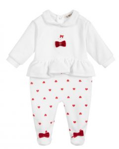 Everything Must Change White & Red Velour Babygrow