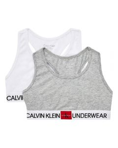 Calvin Klein Girls White & Grey Crop Tops (2 Pack)