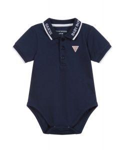 Guess Baby Navy Blue Logo Bodysuit