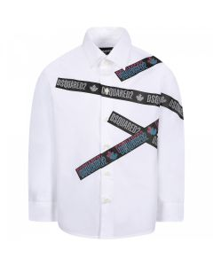 DSQUARED2 Kids White Cotton Logo Tape Shirt