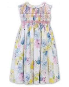 Sarah Louise Girls  Floral Frilled Collared Dress