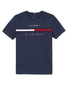 Tommy Hilfiger Boys Navy Blue Embroidered Logo Sweatshirt