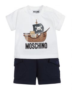 Moschino Baby White & Blue Pirate Teddy Shorts Set