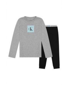 Calvin Klein Heather Grey and Black Cotton Pyjamas