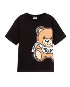 Moschino Kid-Teen Black Cotton Side Toy Logo T-Shirt