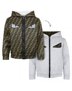 Fendi Reversible Grey FF Logo Sweatshirt Jacket