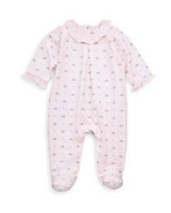 Tartine et Chocolat Girls Pink Hedgehog Cotton Babygrow