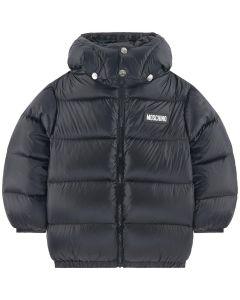Moschino Kid-Teen Black Down Padded Logo Jacket