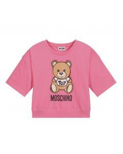 Moschino Kid-Teen Deep Pink Cotton Logo T-Shirt