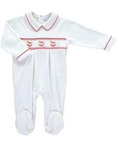 Mini-La-Mode Boys Rocking Horse Smocked White and Red Fine Knit Babygrow