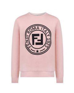 FENDI Girls Pink Black Stamp Logo Sweatshirt