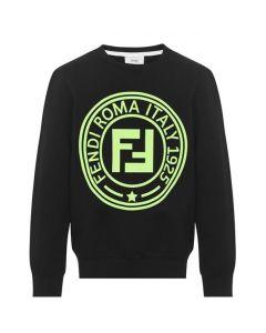 FENDI Boys Black Neon Yellow Stamp Logo Sweatshirt