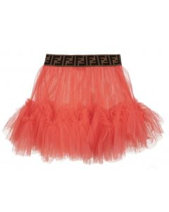 FENDI Pink Tulle FF Waistband Skirt
