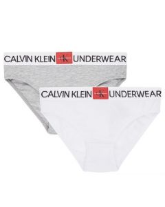 Calvin Klein Girls White and Grey Cotton Bikini Pants (2 Pack)