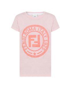 Fendi Girls Pink Roma Stamp Logo T-Shirt