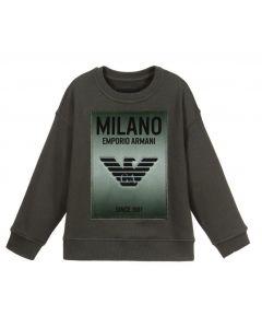 Emporio Armani Khaki Green Velvet Logo Sweatshirt