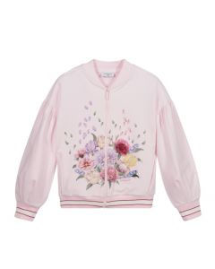 Monnalisa Teen Pink Floral Zip-Up Top