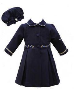 Pretty Originals Blue Hand-Embroidered Coat Set