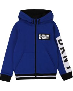 DKNY Blue & White Cotton Logo Zip-Up Top