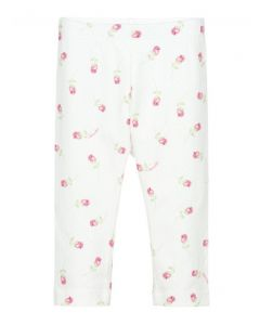 Monnalisa Bebé Ivory & Pink Rose Bud Floral Leggings