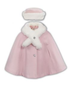 Sarah Louise Girls Pink Faux Fur trimmed Cape