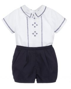 Sarah Louise Boys White & Blue Pintuck Pleated Shorts Set