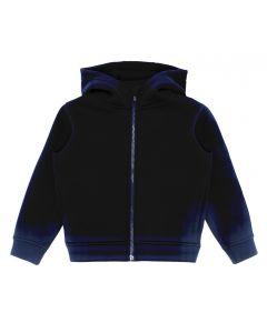 Emporio Armani Boys Navy Blue Velvet Logo Neoprene Zip Up Top