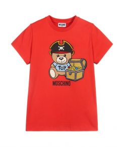 Moschino Kid-Teen Teen Red Logo Pirate T-Shirt
