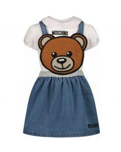 Moschino Baby White & Blue Baby Pinafore Dress Set