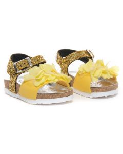 Monnalisa Yellow Glitter Flower Sandals