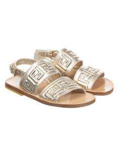Fendi Gold Leather Logo Sandals