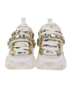 Monnalisa Girls White & Gold Trainers