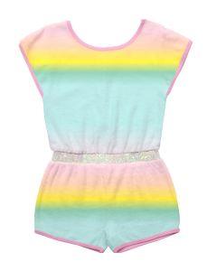 Billieblush Girls Rainbow Towelling Playsuit