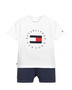 Tommy Hilfiger White & Blue Logo Shorts Set