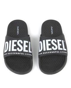Diesel Teen Black Logo Sliders