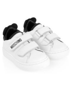 Moschino White and Black Leather Velcro Toy Trainers