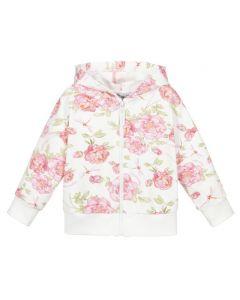 Monnalisa Ivory & Pink Rose Cotton Zip-Up Top