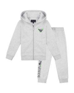 Emporio Armani Grey Cotton Green Logo Tracksuit