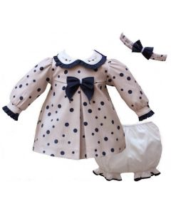 Pretty Originals Beige & Navy Smocked Dress Set