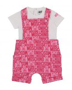 Moschino Baby White & Pink Dungaree Set