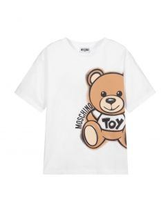 Moschino Kid-Teen White Cotton Side Toy Logo T-Shirt