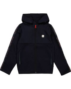 BOSS Kidswear Navy & Red Logo Zip-Up Top