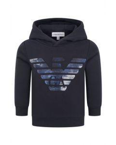 Emporio Armani Navy Blue Shiny Eagle Logo Sweatshirt