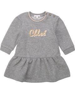Chloé Grey Cotton Jersey Glitter Logo Dress