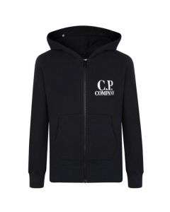 C.P. Company Boys Black Zip Up Hooded Sweatshirt
