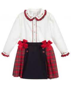 Pretty Originals Blue & Red Tartan Skirt Set