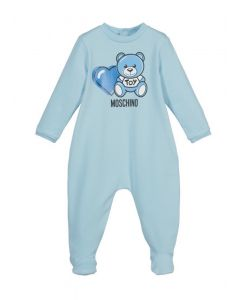 Moschino Baby Blue Teddy Heart Babygrow
