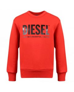 Diesel Boys Red Cotton Logo CREWDIVISION Sweatshirt
