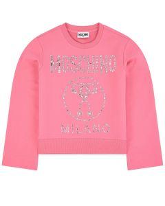 Moschino Kid-Teen Girls Pink Cotton Rhinestone Logo Sweatshirt