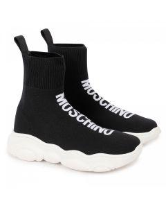 Moschino Kid-Teen Black Logo Sock Trainer